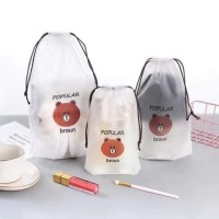 Paket 3 in 1 Travel Shoes Cosmetics Pouch Bag Bear Cat Kaktus