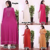Baju Gamis Wanita Terbaru Gamis Jersey Premium Variasi MOTEK 6902