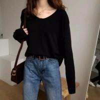 Wanita Sweater Longgar Warna Solid Lengan Panjang Korea V-neck - Hitam