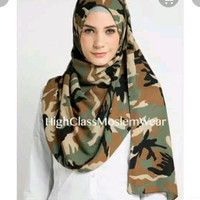 Jilbab Ice cream Pashmina Army - Jilbab Katun Doreng - Hijab Motif