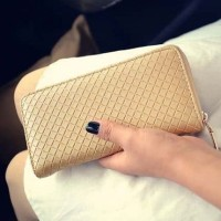 Eksklusif!!! Dompet Wanita Minimalis Clutch Long Zipper Gold