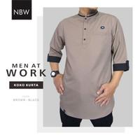 New Release Baju Koko Kurta Baju Atasan Pria Men At Work Brown-Black