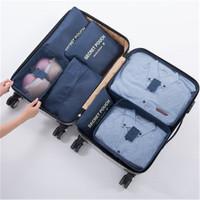 Travel Bag Organizer 7pcs in 1 Set Storage Bag Packing Cube (TK1001) - Biru Tua