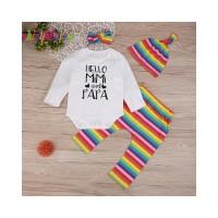 shinyheaven4pcs Set Rainbow Stripe Infants Clothes Romper Pants Hat He