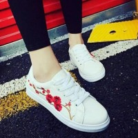 terbaru Sepatu Wanita Sneakers/Kets Casual Flowers - Sneakers Putih