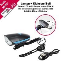 Lampu Depan Sepeda LED dan Bel Klakson Elektrik USB Rechargeable