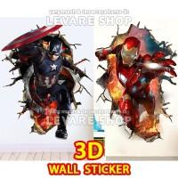 3D Wall Sticker Tembok Marvel Stiker Captain America Ironman Iron Man