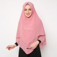 Yanakoi Hijab - Jilbab Khimar Syafa Tanpa Pet Warna Pink Dusty