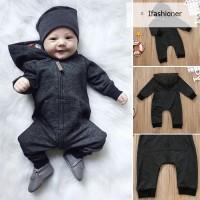 Children Kids Hoodie Long Sleeve Jumpsuit Zipper Hooded Clothes