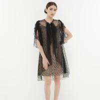ATELIER MODE Lace Dress Ruffles on Center Front Aira Dress Wanita