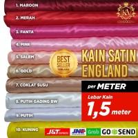 Kain Satin England perMETER Lebar Kain 150cm Tebal, Tidak Transparant