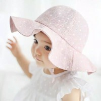 Topi Bayi Baby Cap Big Brim Hat Infant Baby Girls Cotton