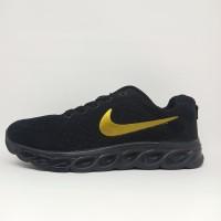 Sepatu Olahraga Running Nike Import Hitam Polos Fullblack Sekolah