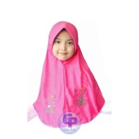 Galeripuko Pink Manis Jilbab Instan Serut Bordir Anak Sekolah SD SMP