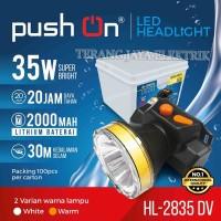 Senter Kepala Selam/Headlamp Diving LED 35 Watt Putih/Kuning Push On