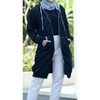 Jaket muslimah Hijacket Basic Black size XL original