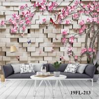 Wallpaper Custom Motif Floral 3D