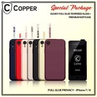 Iphone 7/8 - Paket Bundling Tempered Glass Privacy Dan Softcase