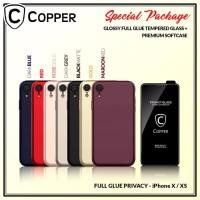 Iphone X/XS - Paket Bundling Tempered Glass Privacy Dan Softcase