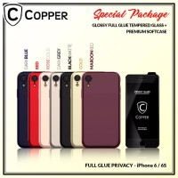 Iphone 6/6s - Paket Bundling Tempered Glass Privacy + Softcase Copper