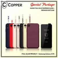 Samsung A70 - Paket Bundling Tempered Glass Privacy Dan Softcase