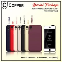 Iphone 6+/6s+ White-Paket Bundling Tempered Glass Privacy Dan Softcase