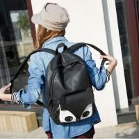 Tas Ransel Korea Black Eye Fox Design Bahan Berkualitas, Produk Import