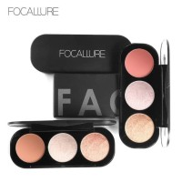 Hot Produk Focallure Blush And Highlighter Palette 3 Colors Original