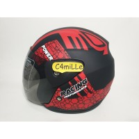 HELM EVOLUTION POWER 911 BLACK DOFF RED HALF FACE MODEL GM EVO
