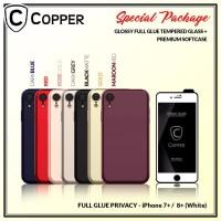 Iphone 8+ White - Paket Bundling Tempered Glass Privacy Dan Softcase