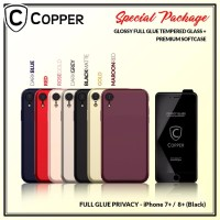 Iphone 8+ Black - Paket Bundling Tempered Glass Privacy Dan Softcase