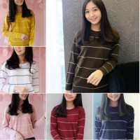Kaos Wanita Panjang Salur Warna Terbaru Murah Baju Atasan Import Polos