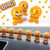 Pajangan Dashboard Mobil Boneka Karakter Emoticon Goyang Kepala Wajah