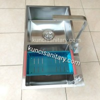 Paket kitchen sink 2 lubang 8245 kran sink mixer panas dingin stainles