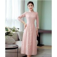 Gaun Pesta 1909002 Cheongsam Peach Party Dress Gown