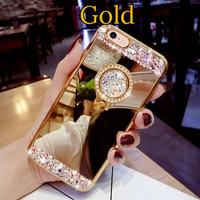 Case Oppo F11 Biasa Mirror Luxury Swarovski Diamond - Gold