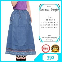Rok Panjang Jeans anak perempuan usia 6-12tahun list hiasan motif