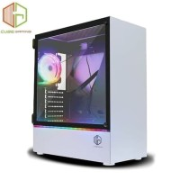 CUBE GAMING KLASSIS WHITE SIDE TEMPERED GLASS RGB STRIP