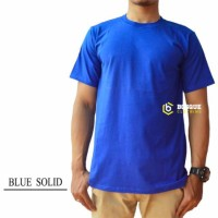 Kaos Polos Pendek Biru Solid 100% Cotton Combed 30S Pria dan wanita