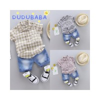 DUDUBABA Boys Summer Casual Short Sleeve Plaid Printed Blouse Denim Sh