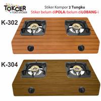 Stiker Kompor 2 Tungku Motif Kayu - K-310 New Generation