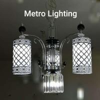 Lampu Gantung Kaca IL 16720/3+1 CH+BK