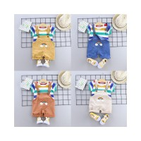 DUDUBABA Summer Boys Girls Short Sleeve Stripeed Tops Suspender Pants