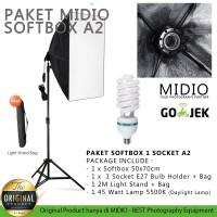 Paket Softbox Midio A2 LightStand 2M + 1 Softbox + 1 Lampu 45watt