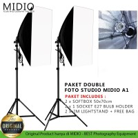 Paket Double Softbox Midio A1 Light Stand 2M + 1 Socket E27 + Sofbox