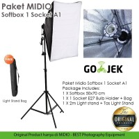 Paket Studio Foto Midio A1 Light Stand 2M + 1 Socket E27 + Softbox