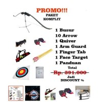 PROMO! PAKET KOMPLIT BUSUR PANAH + 10 Arrow + Quiver + Finger + Arm