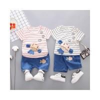 DUDUBABA Summer Boys Girls Short Sleeve Striped Cartoon T-shirt Shorts
