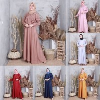 JAMILAH DRESS/ MOSCREPE/ DRESS HIJAB FORMAL - Cokelat
