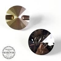 Swarovski Payet Jahit Rivoli 12mm Kancing - Grey Satin Bulat